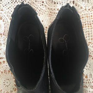 Jessica Simpson Shoes - JESSICA SIMPSON BLACK LEATHER SNUB TOE BOOTIES 9